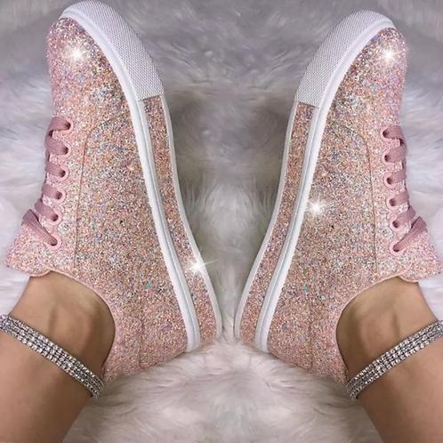Pink iridescent glitter sneakers 💎