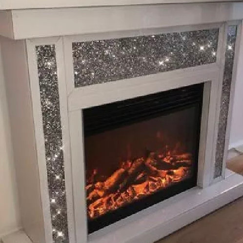 Modern Home Decor, Fully Electric Crushed Diamond Glass White Fireplace