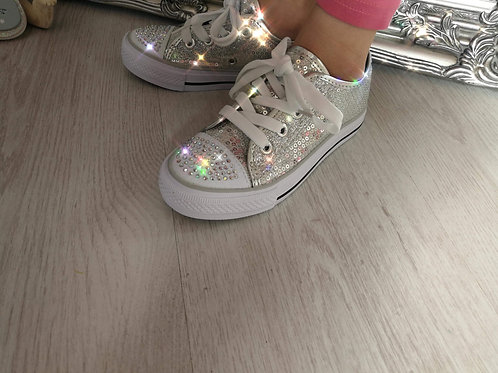 Kids Bling Lace up Trainers