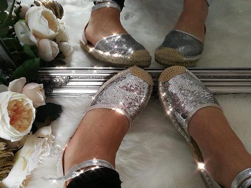 Silver Strap Espadrilles