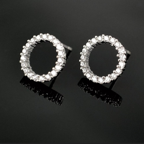 925 Sterling Silver Open Circle Round Clear CZ Zirconia Stud Earrings
