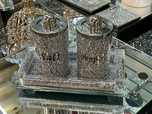 Crystal salt and pepper pots and tray