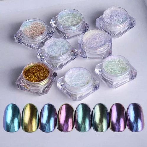 Mirror Chrome effect magic nail dust