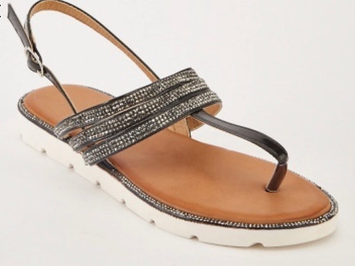 Black Crystal encrusted sandals