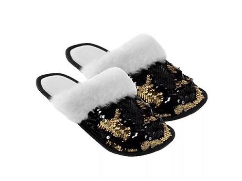 Black / Gold Reversible Sequin Slippers