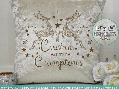 Personalised Raindeer Velvet Cushion Christmas