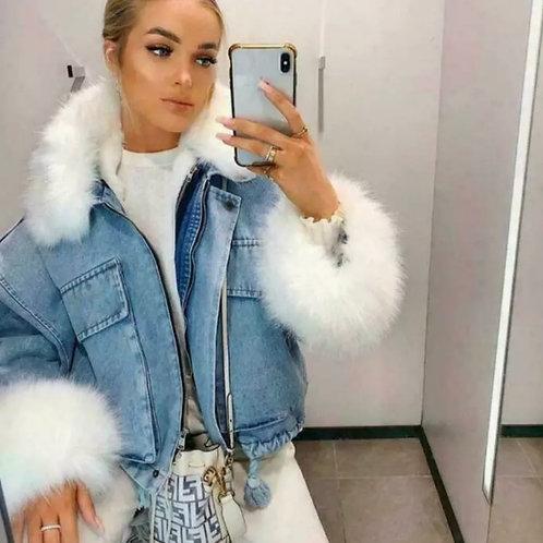 Francesca faux fur denim jacket