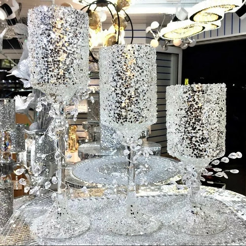 Luxury glitter & crystal candle holders set of 3