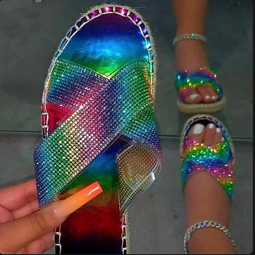 Slip On Sliders Diamante Espadrilles