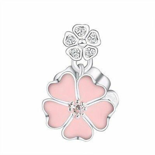 CZ Crystal Charm 925 Sterling Silver Pink Flower Design