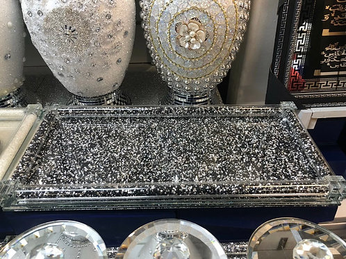 Black / silver crushed diamond tea, coffee, sugar canister tray