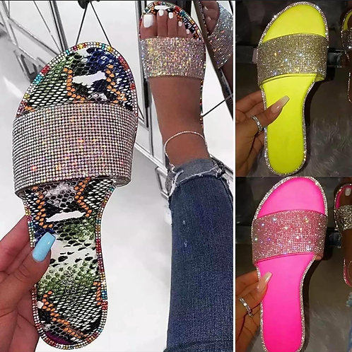 Embellished crystal sliders