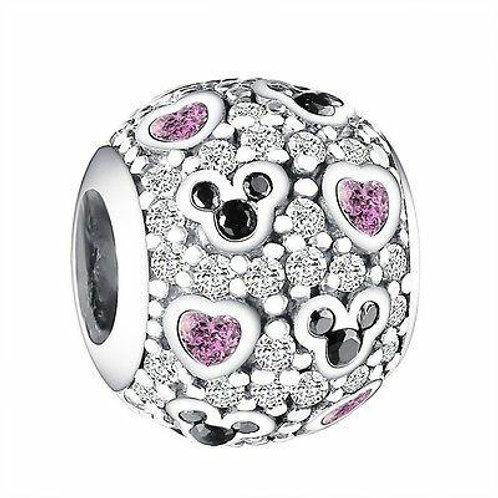 CZ Crystal Charm 925 Sterling Silver Mouse and Heart Design