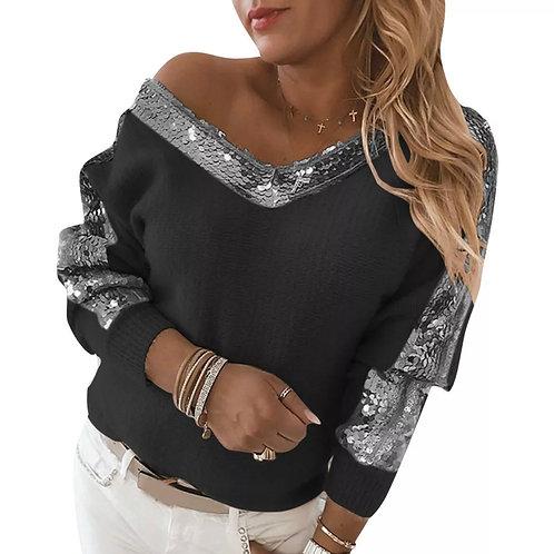 Sequin off the shoulder sweatshirt