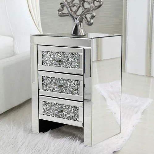 Mirrored Crushed Diamond  Side Glass 3 Drawers Bedside Cabinet