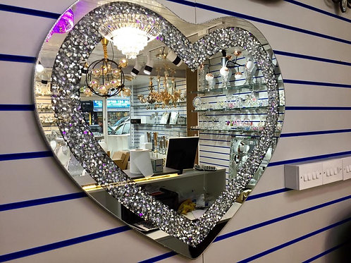 Crystal Crushed Diamond Heart Shaped Wall Mirror Sparkly Silver Diamond 70x70