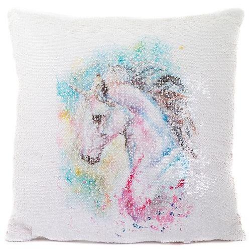 White Unicorn Sequin Cushion