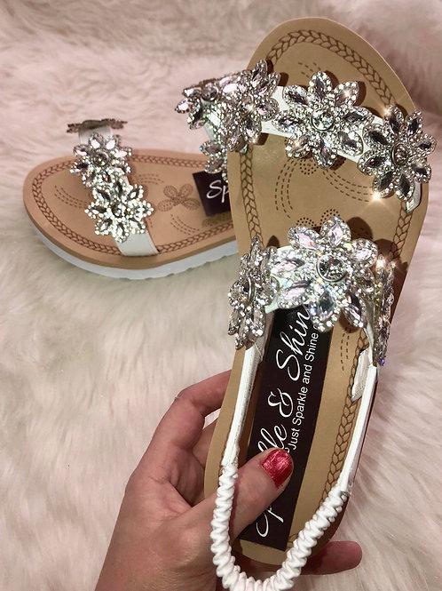 Rhinestone Flower Sandals