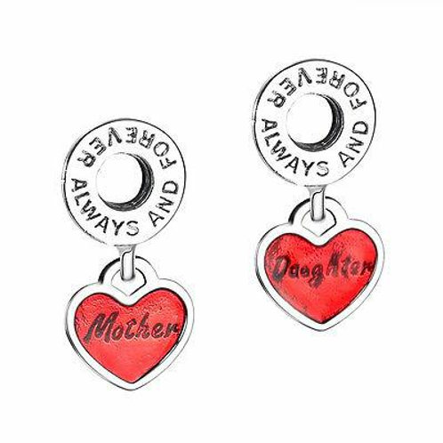 CZ Crystal Charms 925 Sterling Silver Mother and Daughter