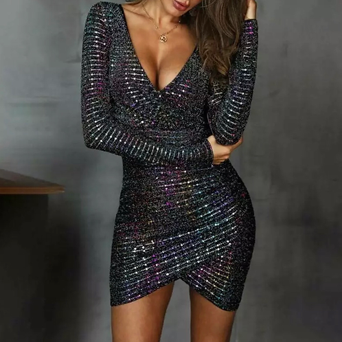 Black Sparkle V neck plunge dress