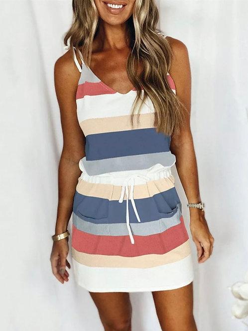 Drawstring stripe summer dress