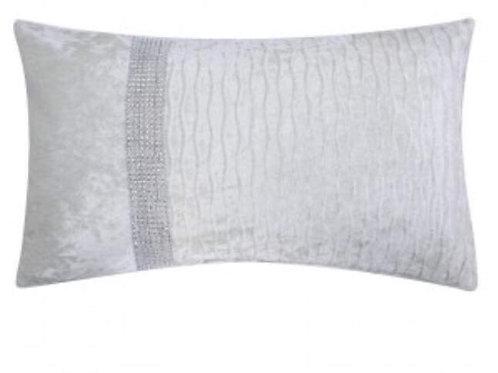 Pure white crystal crushed velvet cushion