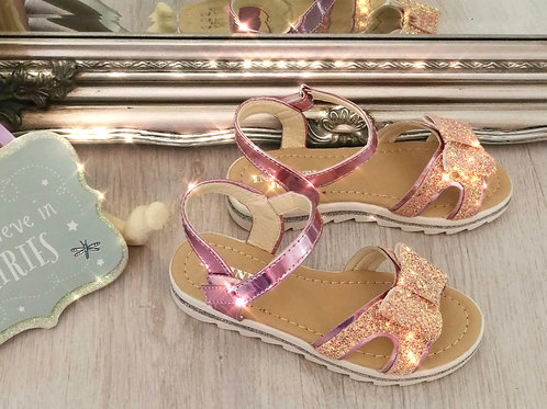 Girls Pink Bow Sandals