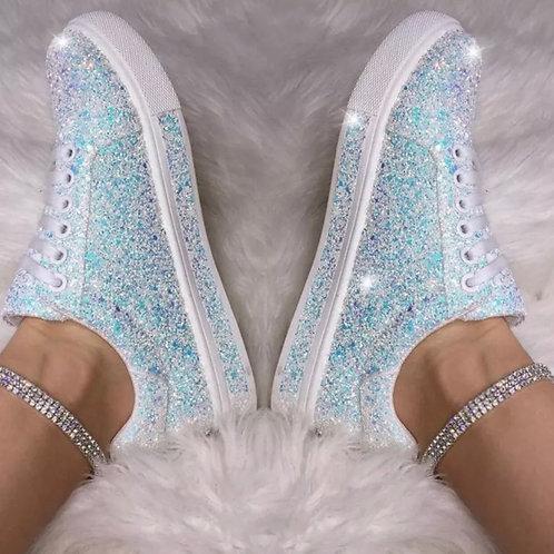 White Diamond 💎 Dust iridescent sneakers