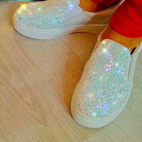 Girls Diamond Dust Slip on Glitter shoes