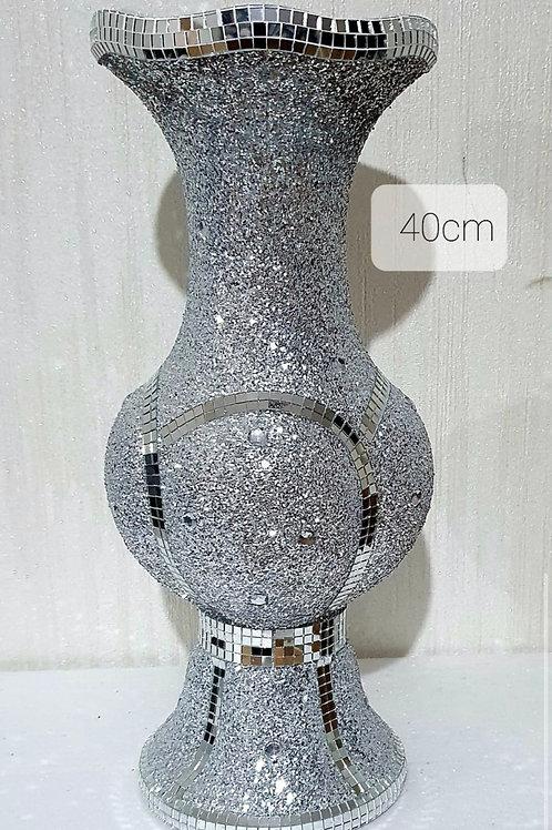 Silver glitter mosaic vase / mirror effect