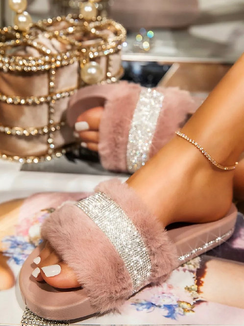 Roxii fluffy Crystal sliders