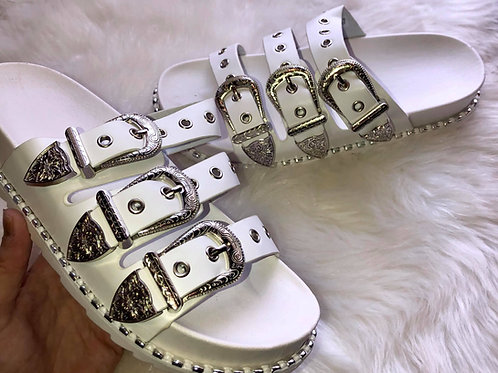 Silver Crusted Buckle Sliders