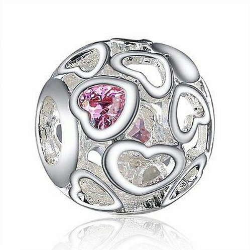 CZ Crystal Charm 925 Sterling Silver Heart Design