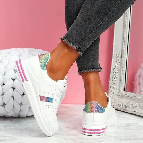 Lilli white glitter sneakers