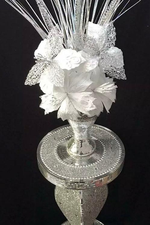 Crushed Diamond Silver Ceramic Vase Black & Silver FlowerHome Decor Gift 40CM