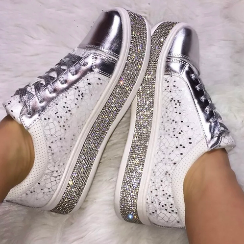 White Crystal Sneakers