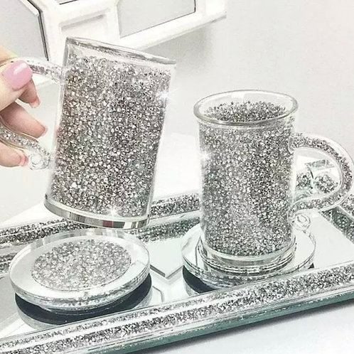 Set of 2 crushed diamond 💎 cups with coasters