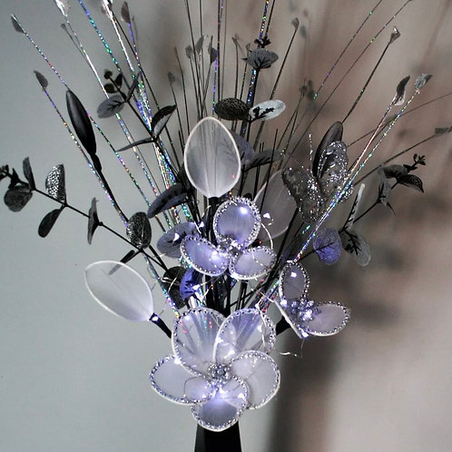 Artificial Flower Arrangement White Glitter Nylon Flowers Stem LIGHT UP Bouguet.