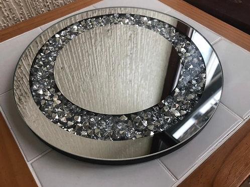 25cm round glass Crushed Diamond placemats 2 pcs
