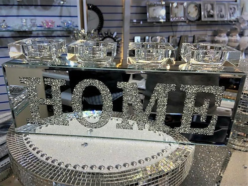 Crushed Diamond HOME tealight candle holder