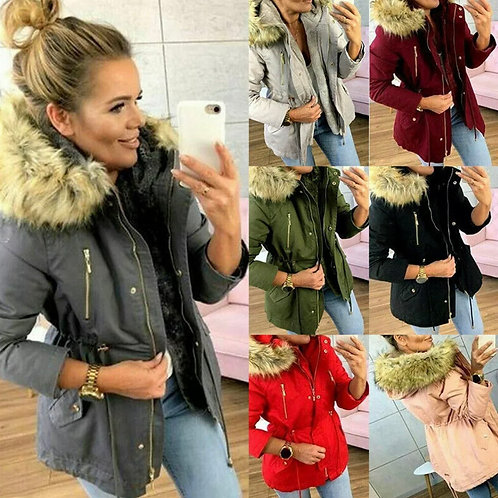 Ladies Combat faux fur hooded thin jacket