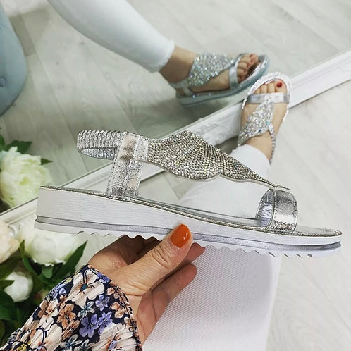 Wedge Butterfly Crystal embellished Sandals