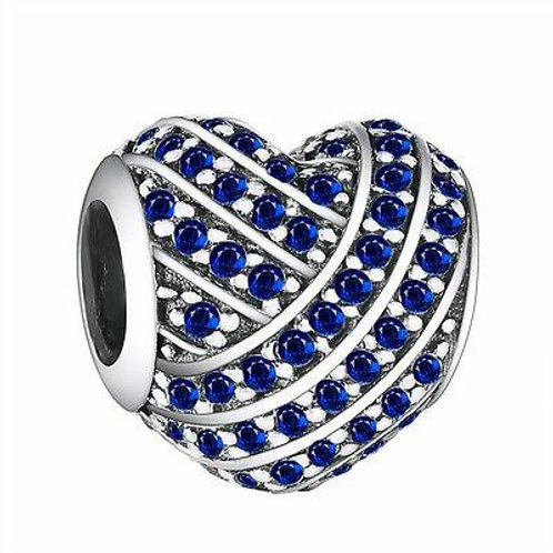 CZ Crystal Charm 925 Sterling Silver Blue Heart