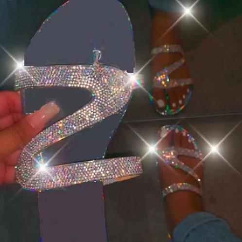 Holographic rhinestone sandals 💎