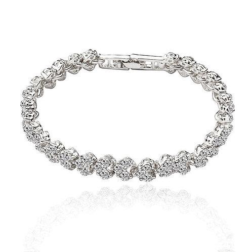 Cubic Zirconia Roman Sliver Heart Bracelet Crystal Rhinestone