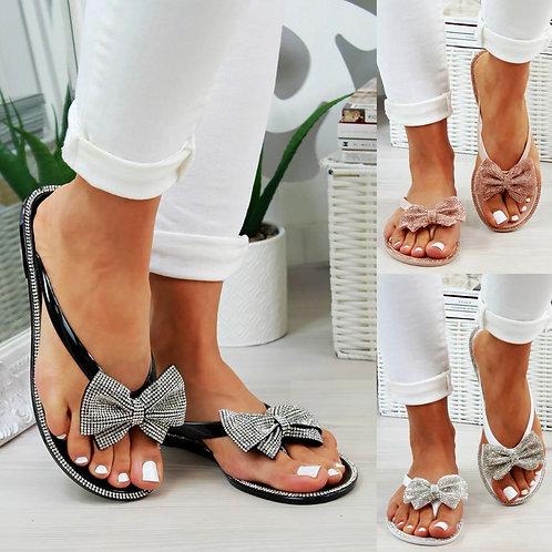 Crystal bow flip flops 💎