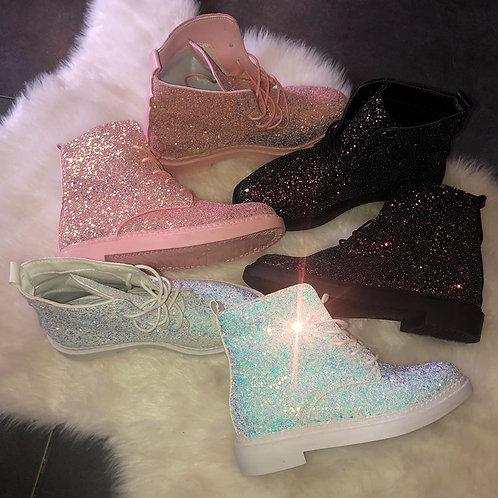 Iridescent Glitterbomb Boots Made to order