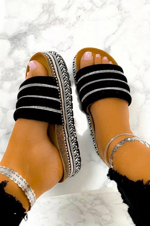 Black crystal platform sandals