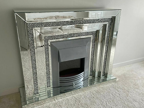 2 Tier crushed Diamond fireplace / mirrored