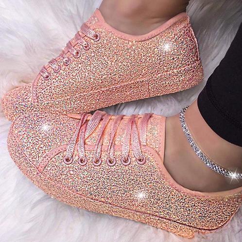 Peach Glow full glitter trainers